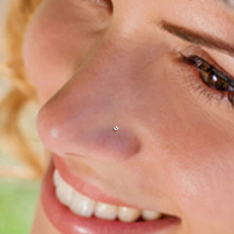 Teeny Tiny 1mm CZ Sterling Silver Nose Stud Nose Ring Silver image 0