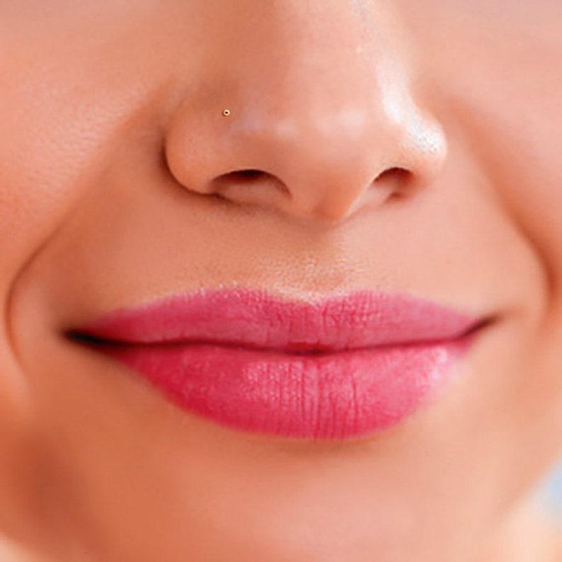 14K Gold Nose Stud Tiny Gold Nose Stud Gold Nose Bone Gold image 0