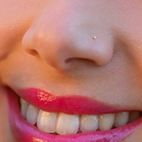 Tiny Rose Gold 1mm Ball Nose Stud Nose Ring Rose Gold Nose Etsy