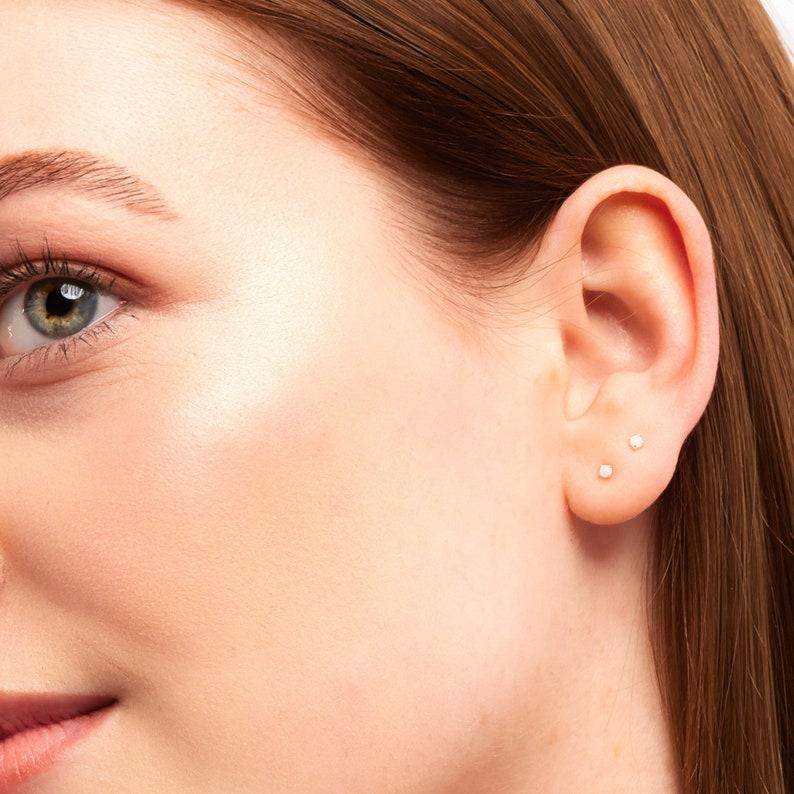 Tiny Opal Stud Earrings Small Opal Stud Earrings Tiny Stud image 0