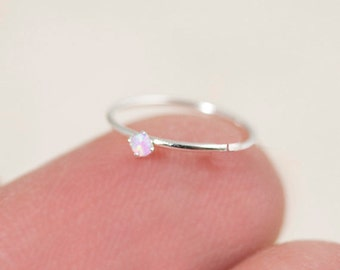 Tiny Nose Hoop, Silver Nose Hoop, Tiny Nose Ring, Tiny Nose Ring, Opal Nose Hoop, Small Nose Hoop, Opal Nose Hoop, Opal Nose Ring, SHP3