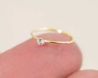 Gold Nose Hoop, Gold Nose Ring, Tiny Nose Hoop, Tiny Nose Ring, CZ Nose Hoop, Small Nose Hoop, Small CZ Nose Hoop, CZ Nose Ring, 14HP2