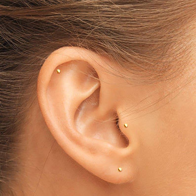 14K Gold Tragus Stud Gold Helix Stud Gold Cartilage Stud image 0