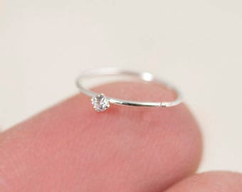 Tiny Nose Hoop, Silver Nose Hoop, Tiny Nose Ring, Tiny Nose Ring, CZ Nose Hoop, Small Nose Hoop, Small CZ Nose Hoop, CZ Nose Ring, SHP3