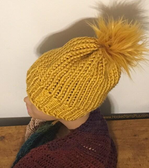 Women s Mustard Yellow Gold Knit Hat w  Faux Fur Pom Pom  d2cd15baceee