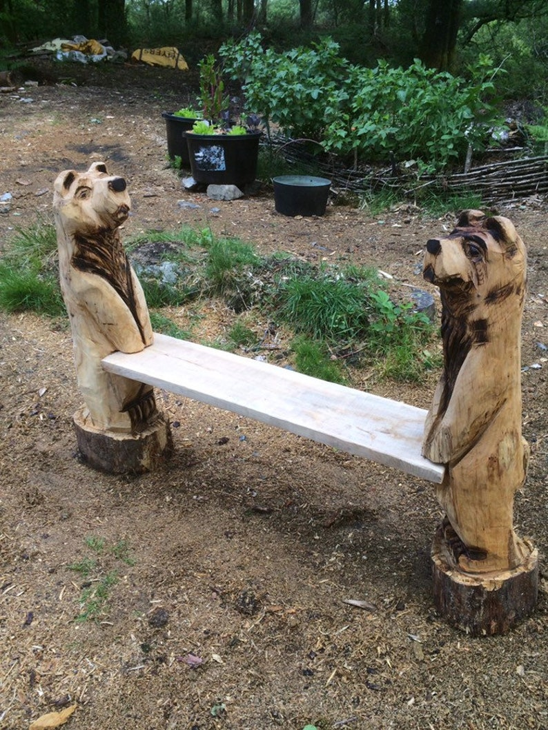 Chainsaw carved bear bench in oak etsy
