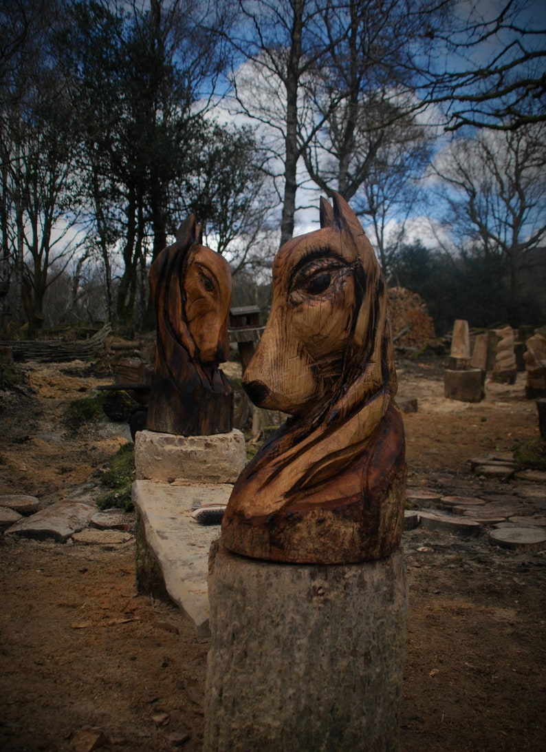 Chainsaw carved sculpture horses head etsy