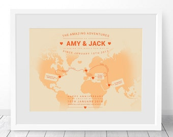 Personalised World Map, Custom World Map, Travel Map, World Map Print, Map Of The World, Wedding 1st Anniversary Gift, 40th Birthday Gift