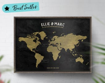 Places We've Been Map, Personalised Map, Best Selling World Map, Travel Map Personalised, Cartographer, Map Memories, No Ordinary Emporium
