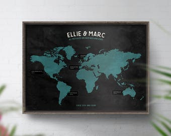 Personalised World Map, Travel Map, Custom World Map Print, Map Of The World, Wedding, 1st Anniversary Gift, 40th Birthday Gift, Places been