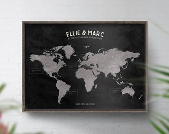 Bucket List Map, World Travel Map, Personalised Map, Custom World Print, 25th Wedding, Silver Anniversary Gift, Birthday, Places we've been