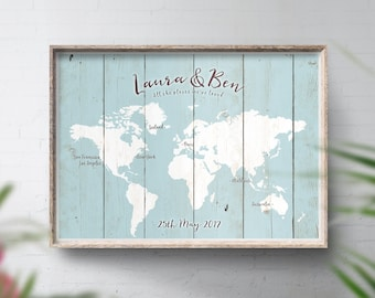 Personalised Travel Map, Travel Theme Wedding, Wedding Map Sign, Rustic Guest Map, Alternative Guest Book, World Travel Map, Wall Map Print