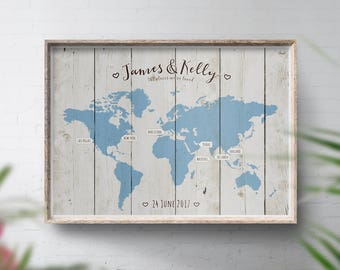 Wedding Guest Book Alternative, World Travel Map, Wood Style Map, Travel Map Personalised, Theme Wedding, Places We've Been, Wedding Map