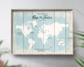 Rustic Places We've Been Travel Map, Personalised Map, Poster Print, Wood Look Wall Map, Bucket List Map, World Map, Wall Map, Guestbook Map