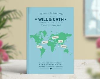 Travel Journal, Travel Notebook, Personalised Journal, Travel Gift, Anniversary Journal, Gift for Travellers, Explorer, Adventures, Birthday