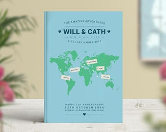 Travel Journal Personalised, 1st anniversary gift, bucket list journal, Best Selling Notebook, Graphic Designer, No Ordinary Emporium
