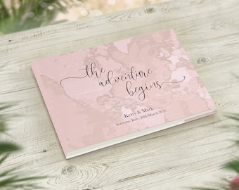7874e762 Blush Pink Or Grey Guestbook, The Adventure Begins Wedding Guest Book,  Travel Themed Wedding, Wedding Gift, Engagement Gift for Fiance Bride