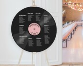 Record Shape Table Plan, Round Music Theme Wedding Seating Chart, Disco Decor, 1960s, 70s, Rock And Roll, Groovy Gatherings, Unique Decor