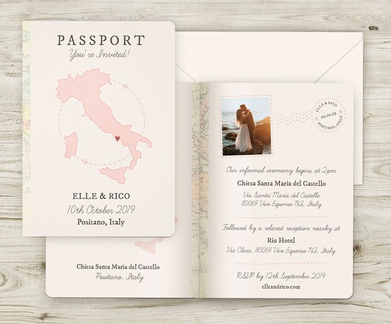 Passport Style Wedding Invitation Personalised Travel Theme Etsy