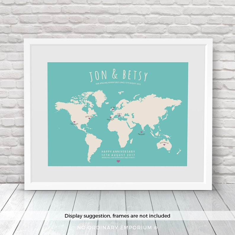 Travel Map Personalised World Map Places Where We've image 0