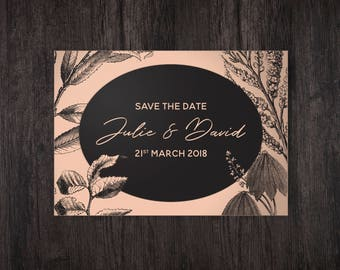 Save The Date Cards, Copper Wedding, Peach Wedding Stationery, Rustic Wood Card, Save The Date Postcard, Personalised Wedding Stationery