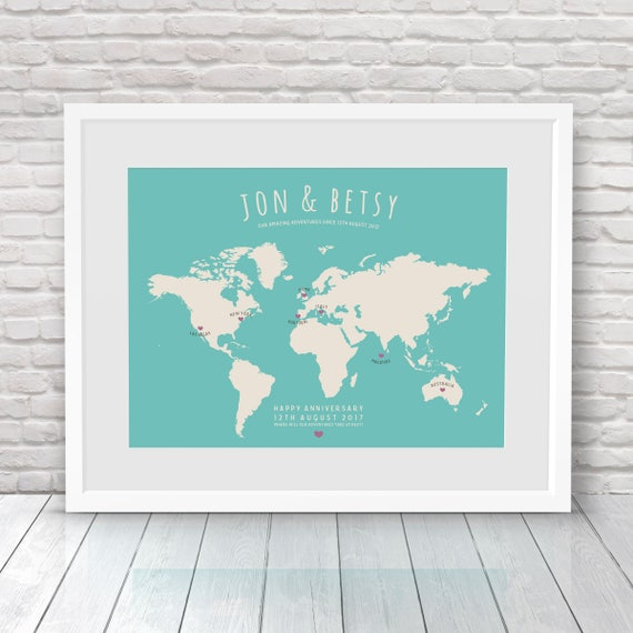 Travel Map, Personalised World Map, Places Where We\'ve Been Map, Custom  Travel Map, Where We Met Map, Our Life Journey Map, Map your travels