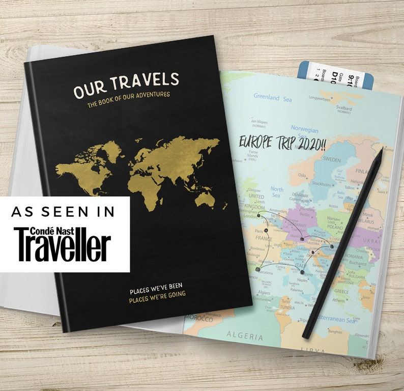Traveller Couple Birthday Gift Idea Family Travel Holiday Journal Notebook With Colour Maps Hard Cover Book Vacation Planner Journey