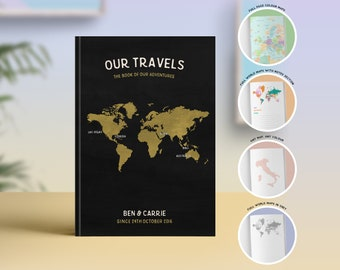 Travel Journal Bucket List, Travel Notebook, Travel Bullet Journal, Personalised Travel Book, Travel Couple Wedding, 1st Anniversary Gift
