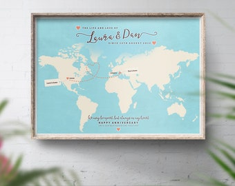 Long distance relationship map, Across the miles gift, Miles apart, Away from home, Travelling family, Love poster, Home travel decor