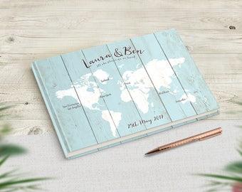 Wedding Guest Book, Travel Theme Wedding, Travel Wedding Guestbook, Sign In Book, Travel Wedding Decor Rustic Sky Blue Blush Pink Dove Grey