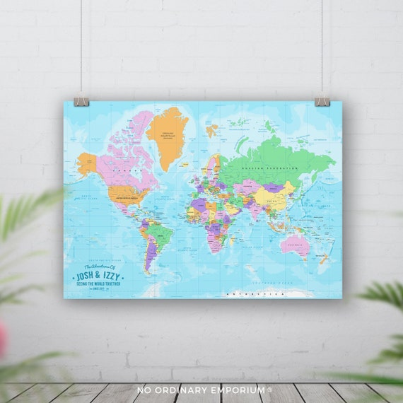 Pin Board Map, Push Pin World Map, Places We\'ve Been, Personalised Travel  Map,Countries Cities Visited, Bucket list, Going Travelling Gift