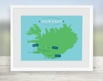 Personalised Iceland Map, Custom World Travel Map Print, Places We've Been, Where We Met, Have Been Map, Life Journey, Anniversary, Birthday