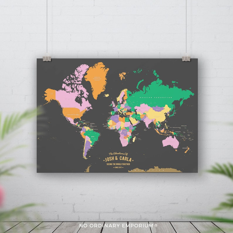 Places we've been World push pin map Pin board travel | Etsy on