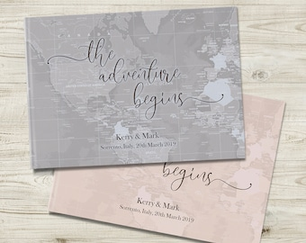 Blush Pink Or Grey Guestbook, The Adventure Begins Wedding Guest Book, Travel Themed Wedding, Wedding Gift, Engagement Gift for Fiance Bride