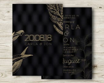 Black and Gold Wedding Invites, Winter Wedding Invitations, Elegant Cocktail Wedding, Classic, Formal Occasion, Personalised, Customisable