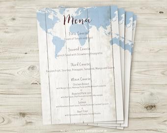 Travel Theme Wedding Menus, Travel Themed Menu, World Map Menu, Rustic Wedding Decor, Vintage Wedding Stationery, Destination Wedding Menu