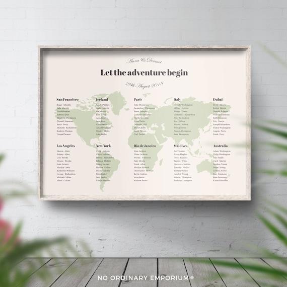 Travel Theme Table Plan Map Wedding Travel Themed World Etsy