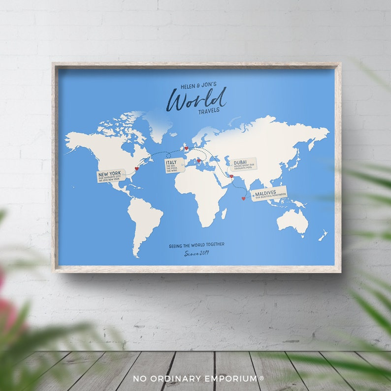 Honeymoon Travel Map Poster Personalised World Map Vacation | Etsy on