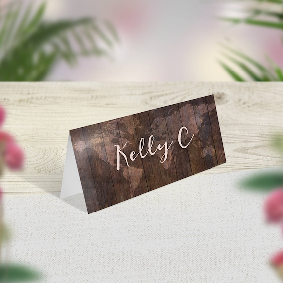 Rustic Wedding Place Cards Travel Theme Name Cards Rustic Etsy