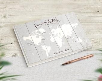 Grey Wedding Guestbook, Travel Theme Guest Book, Destination Wedding, Travellers Wedding, Personalised World Map Book, Adventure Wedding
