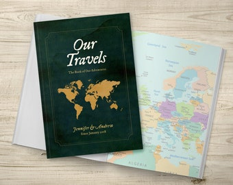 Bucket List, Travel Journal, Purple Travel Notebook, Personalised Notebook, Travel Gift, Places We're Going, Gold World Map, Our Adventures