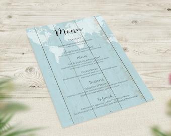 Blue Wedding Menus, Travel Theme Menu, World Map Menu, Rustic Wedding Decor, Boho Menu, Vintage Wedding Stationery, Destination Wedding Menu