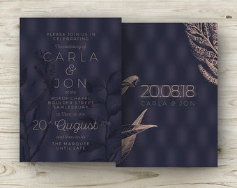 Winter Wedding Invitations, Navy Copper Burgundy Rose, Elegant Wedding, Navy Emerald Green Gold, Marsala Wine Stationery Cranberry Cocktail