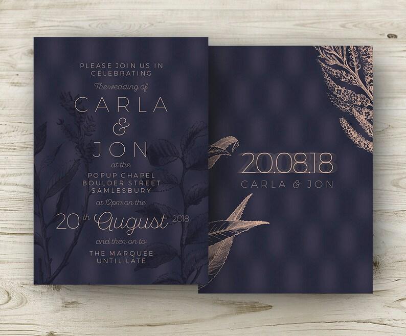 Winter Wedding Invitations Navy Copper Burgundy Rose Elegant image 0