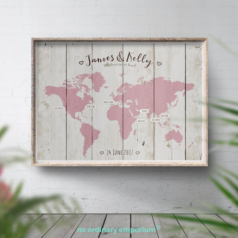 Wedding Guest Book Alternative World Travel Map Wood Style image 0