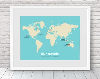 Our adventure map, Our journey map, Couples travel map, Going traveling gift, Gap year gift, Family travels gift, Moving country gift