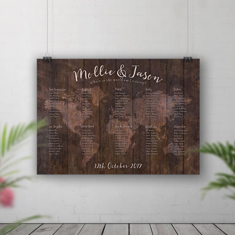 Rustic Wedding Seating Chart World Map Table Plan Table Plan image 0