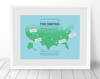 Personalised America Map, Custom USA Travel Map Print, USA Map Print, Places We've Been, Places Travelled, Where We've Been, First Met