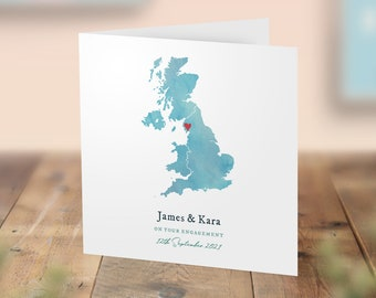 Personalised Engagement Card, Wedding Location Card With Map, Honeymoon Destination Wedding Anniversary Cards, Special Location Heart Card