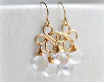 Chandelier earrings etsy crystal chandelier earrings clear quartz earrings gold birthday gift for her clear quartz chandelier earrings april birthstone blissaria mozeypictures Choice Image